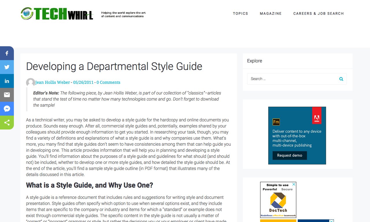 Developing a Department Style Guide - TechWhirl - DocToolHub