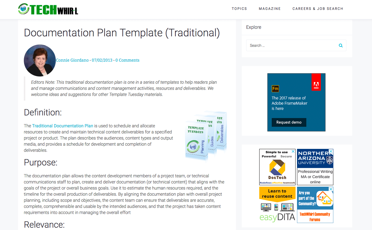 Documentation Plan Template (Traditional) - TechWhirl - DocToolHub