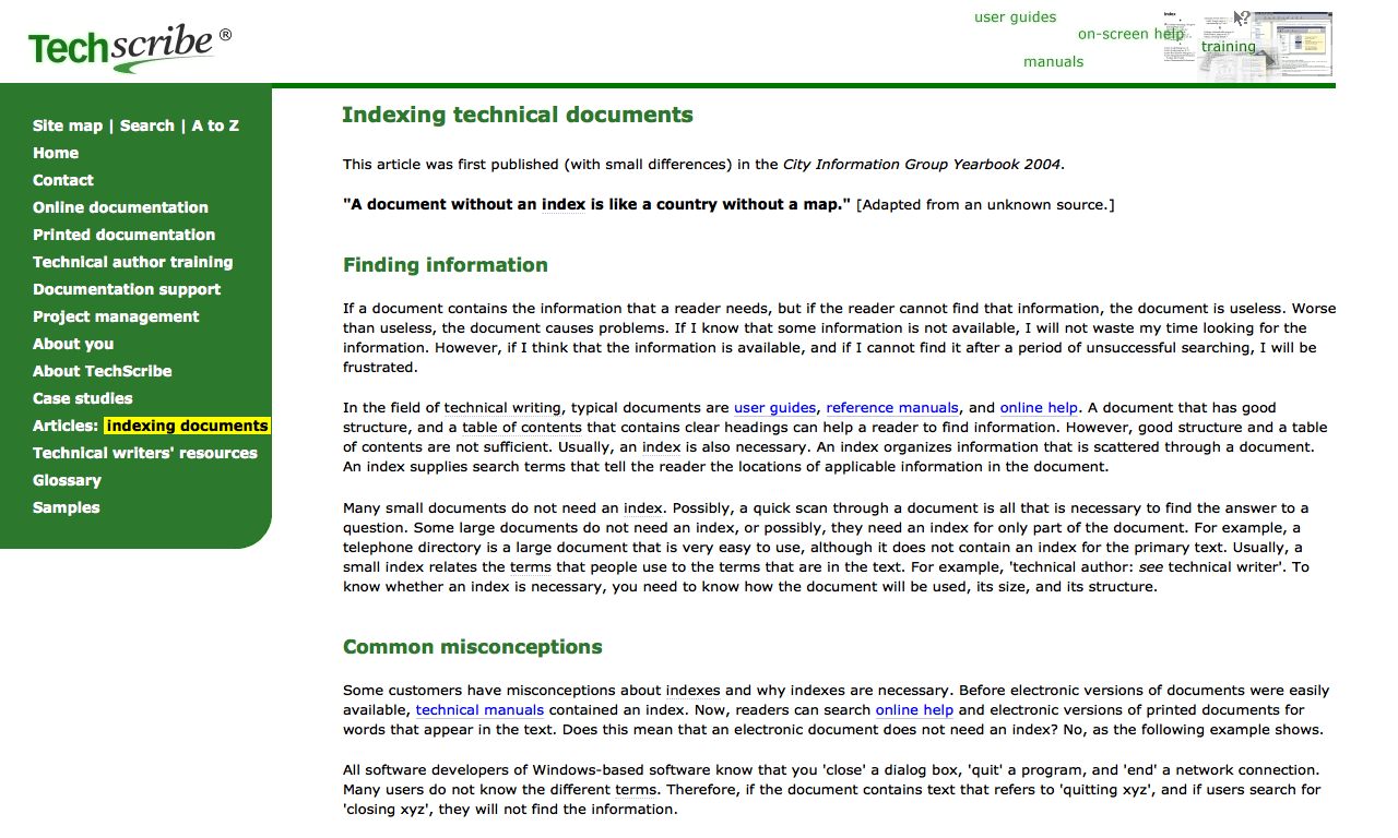Indexing Technical Documents - TechScribe - DocToolHub