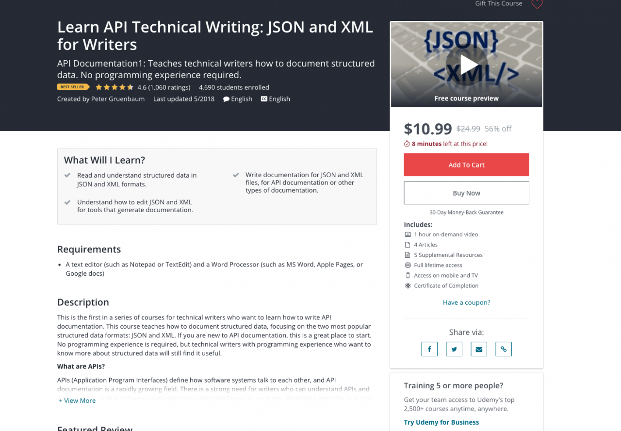 Learn Api Technical Writing Json And Xml For Writers Udemy