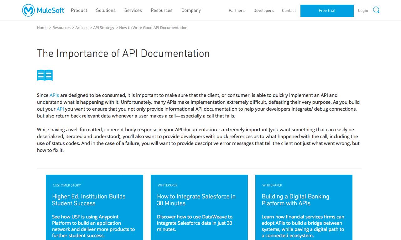 The Importance of API Documentation - MuleSoft - DocToolHub