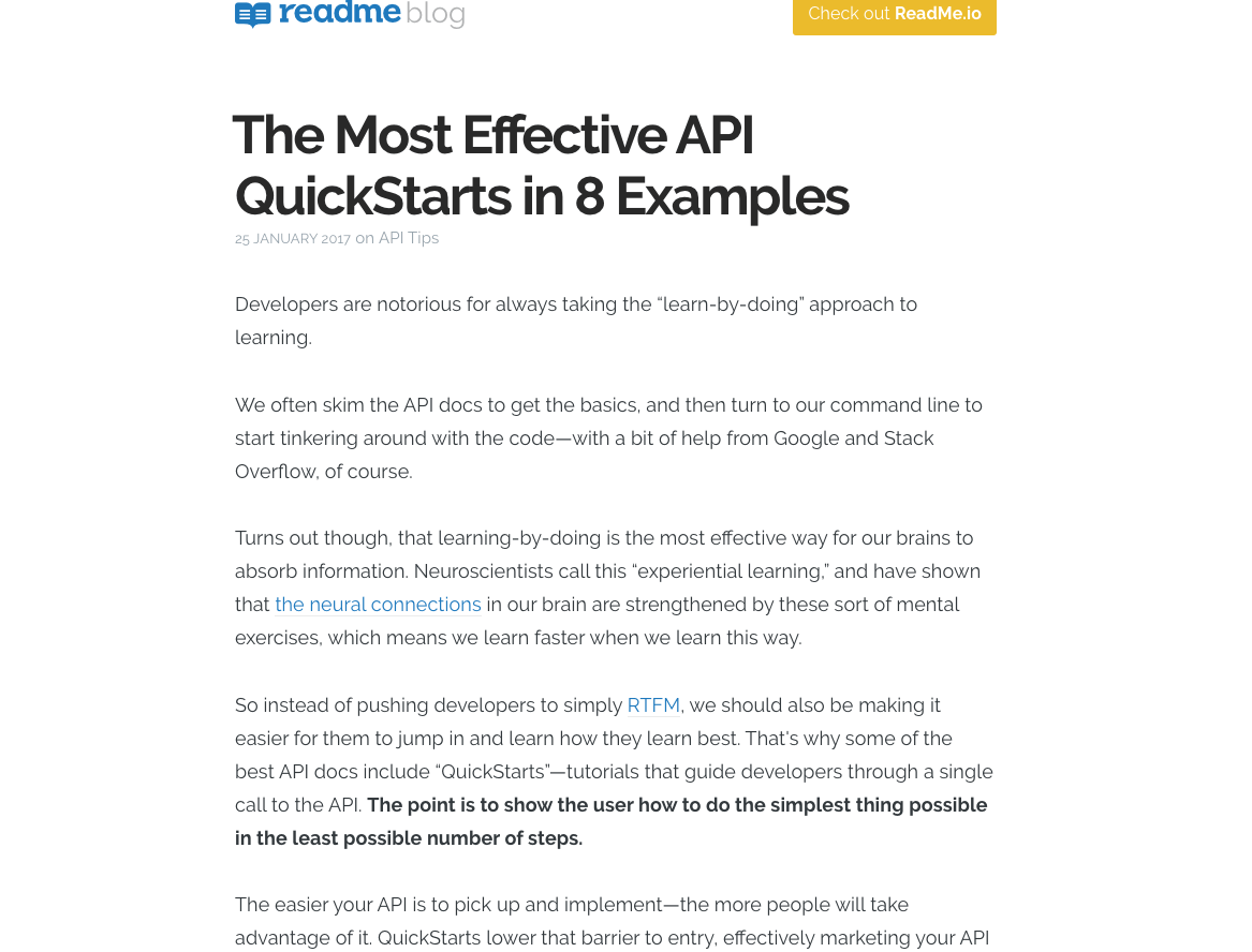 The Most Effective API QuickStarts in 8 Examples - ReadMe io