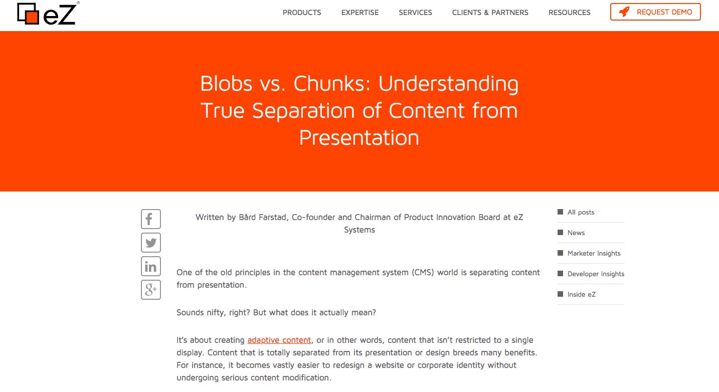 Blobs vs chunks true separation content from presentation