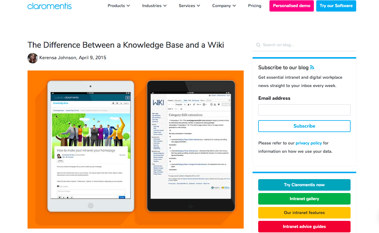 Difference between knowledge base and wiki