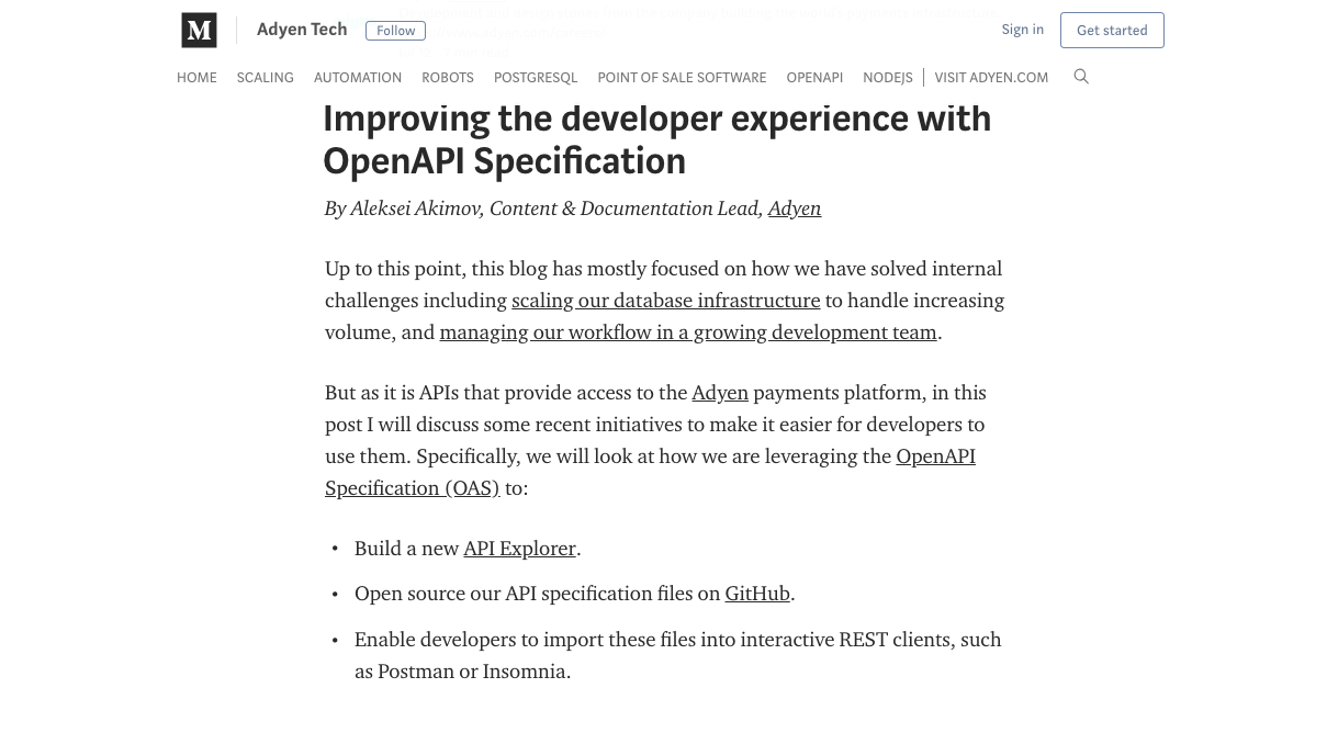 Improving the developer experience with OpenAPI specification