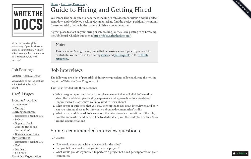 Guide to Hiring WriteTheDocs.org